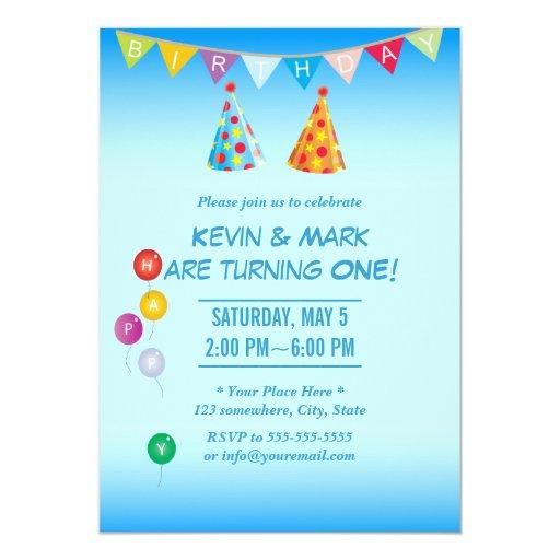 "Classy Blue Twin Boys Birthday Party Invitations 5"" X 7"" Invitation Card"
