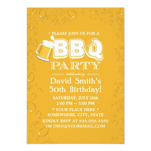 Beer & BBQ 50th Birthday Party 5x7 Paper Invitation Card