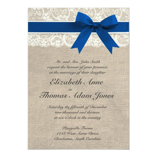 Burlap and Lace Wedding Invitation with Royal Blue Ribbon