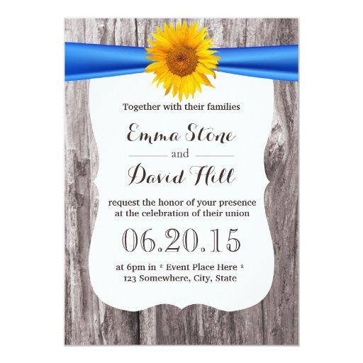 Rustic Sunflower Blue Ribbon Wood Wedding 5x7 Paper Invitation Card