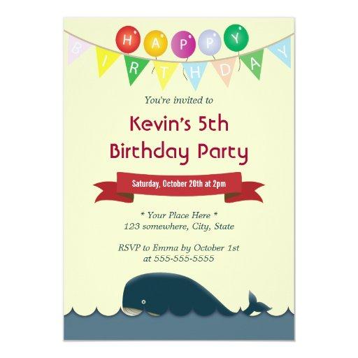 "Happy Cute Blue Whale Birthday Invitations 5"" X 7"" Invitation Card"