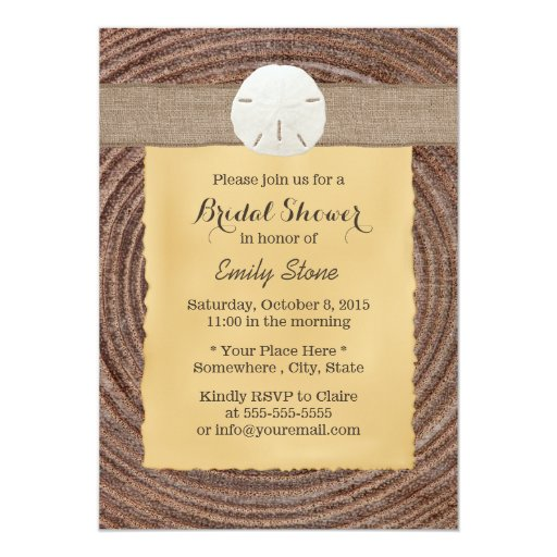 "Country Wood Sand Dollar Bridal Shower Invitation 5"" X 7"" Invitation Card"