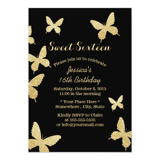 "Chic Gold Butterflies Sweet 16 Invitations 5"" X 7"" Invitation Card"
