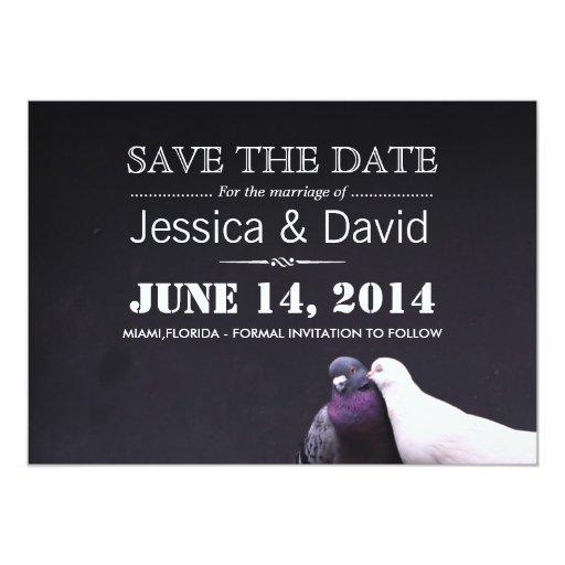 """Classy Love Birds Save the Date Invitation 5"""" X 7"""" Invitation Card"""