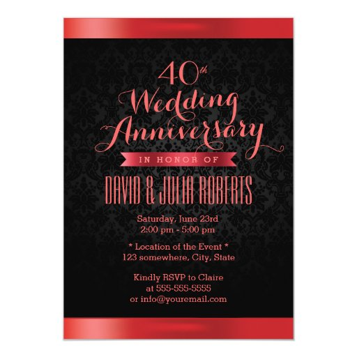Classy Black Damask Ruby Wedding Anniversary 5x7 Paper Invitation Card (front side)