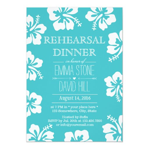 Classy Hibiscus Flowers Turquoise Rehearsal Dinner 5x7 Paper Invitation Card