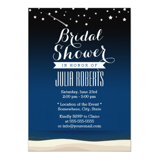 "Starry Night Beach Bridal Shower Invitations 5"" X 7"" Invitation Card"