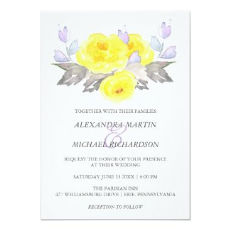 Pretty Watercolor Gray Yellow Purple Roses Wedding Card