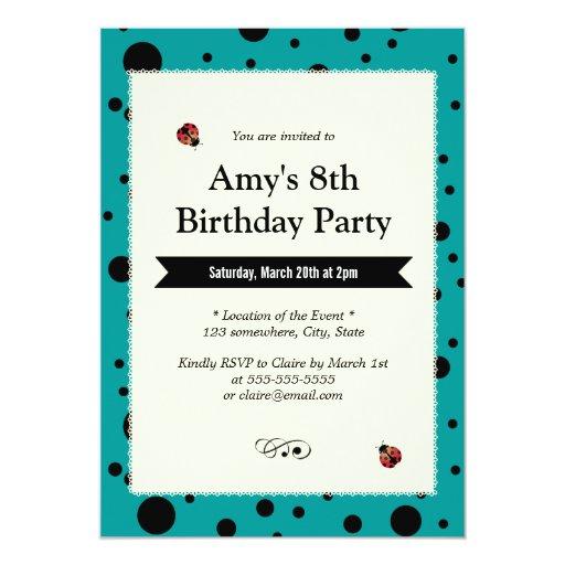 "Teal Green Polka Dots Laced Birthday Invitations 5"" X 7"" Invitation Card"