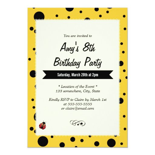 "Cute Ladybug Black & Yellow Birthday Invitations 5"" X 7"" Invitation Car..."