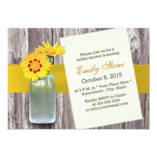 Classy Yellow Daisy & Mason Jar Wood Bridal Shower 5x7 Paper Invitation Card