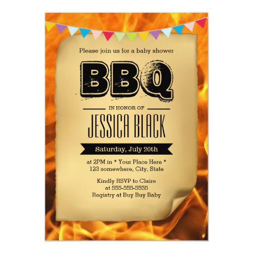 """Vintage Baby Shower BBQ Party Invitations 5"""" X 7"""" Invitation Card"""