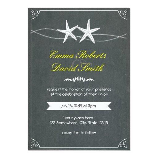 "Classy Framed Starfish Chalkboard Wedding Invites 5"" X 7"" Invitation Card"