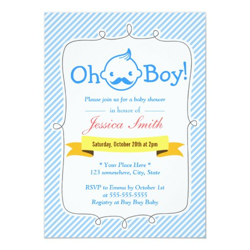 "Baby Blue Stripes Little Man Baby Shower Invites 5"" X 7"" Invitation Card"