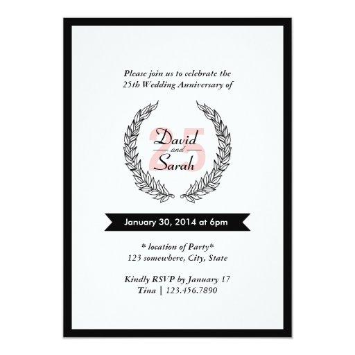 "Elegant Bold Border Wedding Anniversary Invitation 5"" X 7"" Invitation Card"