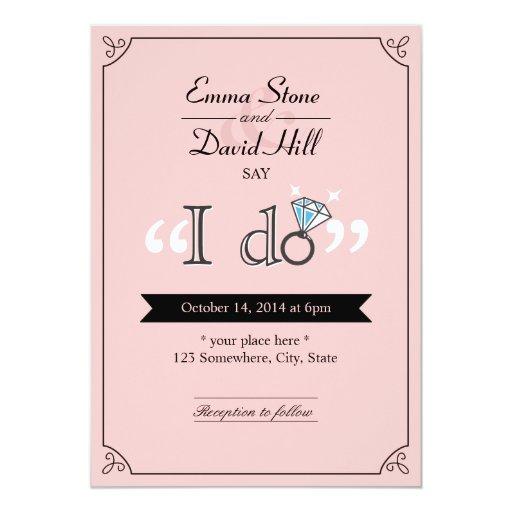"Simple Diamond Ring ""I do"" Pink Wedding Invites 5"" X 7"" Invitatio..."