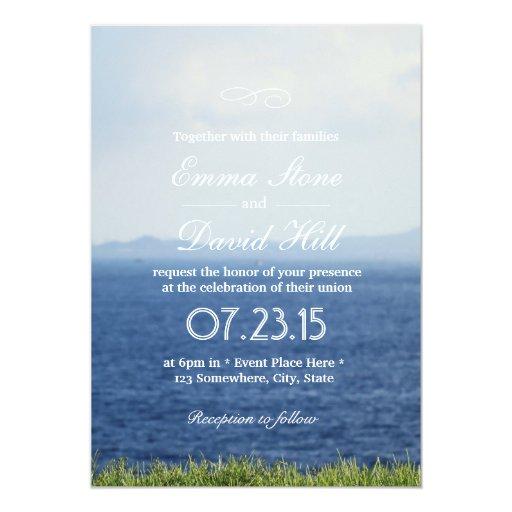 "Beautiful Seaside Blue Ocean Wedding Invitations 5"" X 7"" Invitation Card"