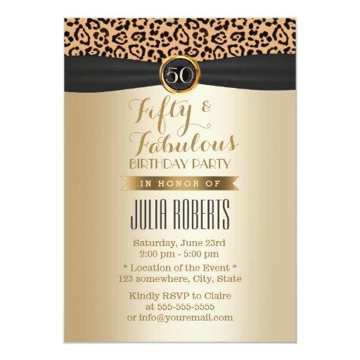 Luxury Leopard Print Black Ribbon Gold Fabulous 50 5x7 Paper Invitation Card
