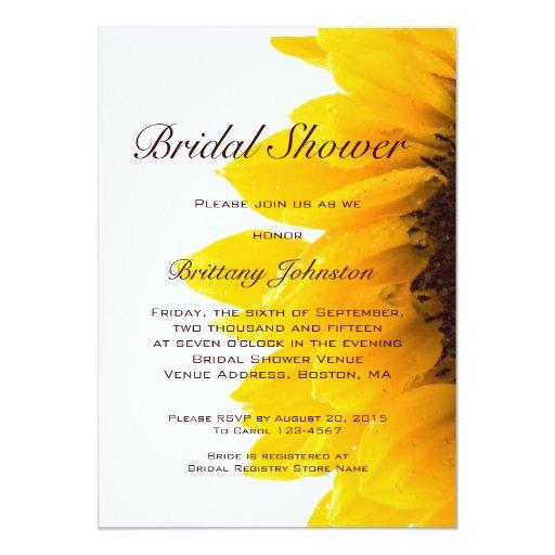 "Yellow Sunflower Modern Bridal Shower Invitation 5"" X 7"" Invitation Card (front side)"