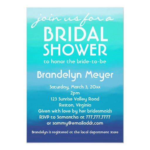 "Modern Teal Blue Ocean Bridal Shower Invitations 5"" X 7"" Invitation Card"