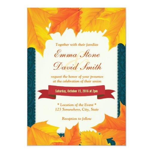 "Teal Damask Golden Leaves Fall Wedding Invitations 5"" X 7"" Invitation Card"