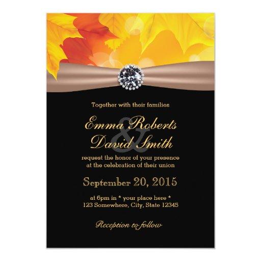 Classy Maple Leaves & Diamond Autumn Wedding 5x7 Paper Invitation Card