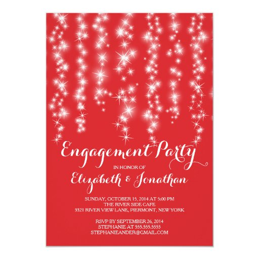 Modern Twinkle Lights Engagement Party 5x7 Paper Invitation Card