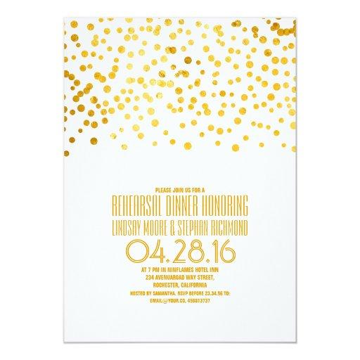 Modern Gold Foil Confetti Rehearsal Dinner 5x7 Paper Invitation Card