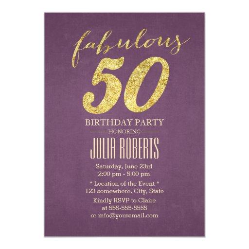 Classy Purple & Gold Fabulous 50 Birthday 5x7 Paper Invitation Card