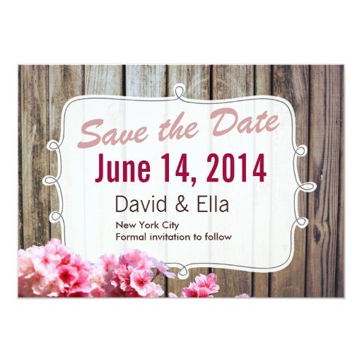 "Country Wood & Flowers Save the Date Announcement 5"" X 7"" Invitation Ca..."