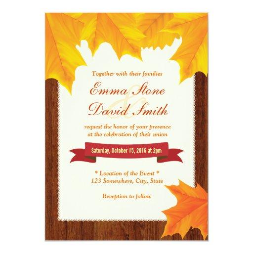 "Classy Maple Leaves Wooden Fall Wedding Invitation 5"" X 7"" Invitation Card"