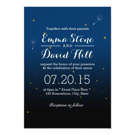 Elegant Fireflies Summer Night Wedding 5x7 Paper Invitation Card