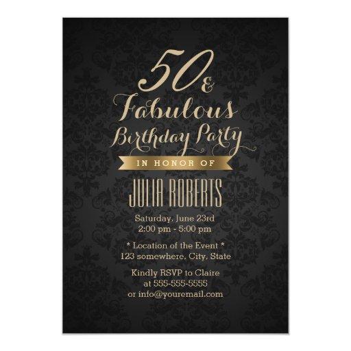 Modern Black & Gold Fabulous 50 5x7 Paper Invitation Card