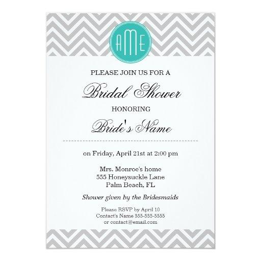 Modern Gray Chevron Mint Monogram - Bridal Shower 5x7 Paper Invitation Card