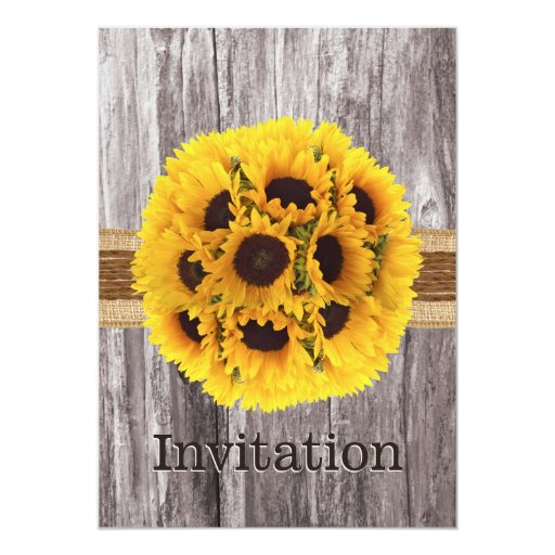 Country Sunflowers Twine & Wood Bridal Shower 5x7 Paper Invitation Card