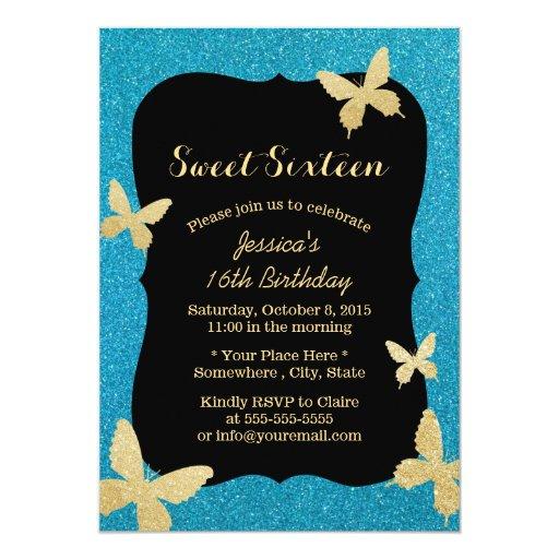 Modern Gold Glitter Butterflies Teal Sweet 16 5x7 Paper Invitation Card