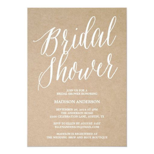 "Modern Script | Bridal Shower Invitation 5"" X 7"" Invitation Card"