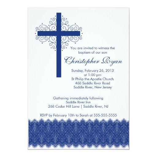 Boy Elegant Lace  Baptism   Christening Cross 5x7 Paper Invitation Card