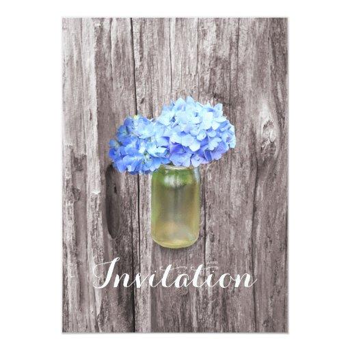 "Blue Hydrangea Mason Jar Bridal Shower Invitations 5"" X 7"" Invitation Card"