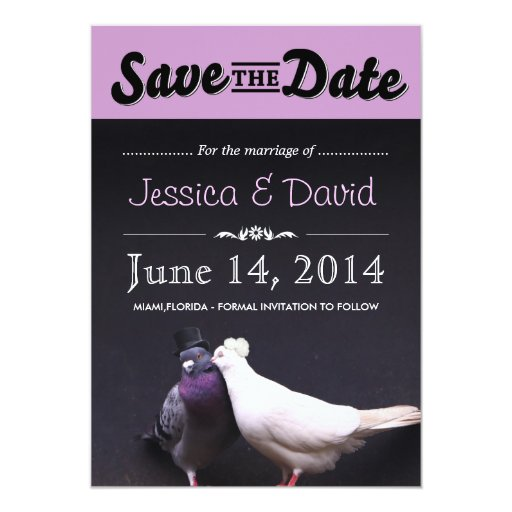 """Bride & Groom Pigeons Save the Date Announcement 5"""" X 7"""" Invitation Car..."""