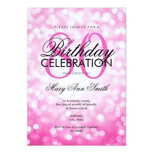 Elegant 80th Birthday Party Pink Glitter Lights 5x7 Paper Invitation Card (front side)