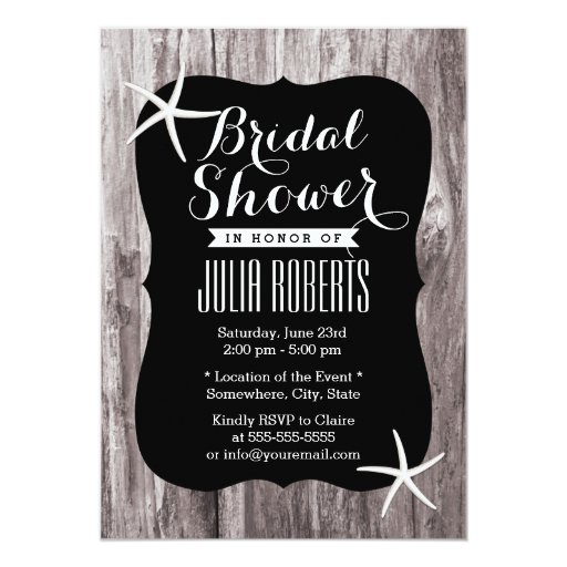 "Rustic Beach Driftwood Bridal Shower Invitations 5"" X 7"" Invitation Card"