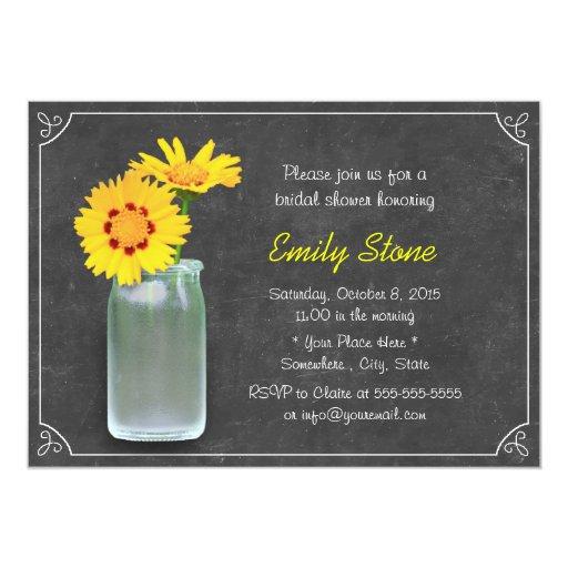 Simple Daisy & Mason Jar Chalkboard Bridal Shower 5x7 Paper Invitation Card