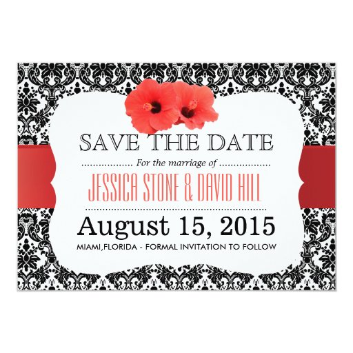 Classy Damask Red Hibiscus Save The Date 5x7 Paper Invitation Card