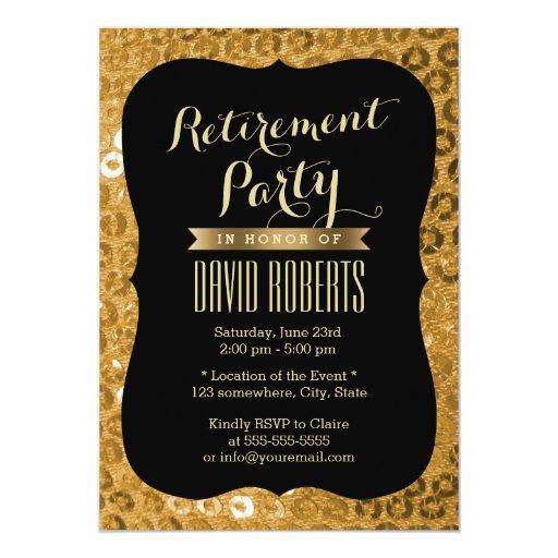 Modern Black & Gold Paillettes Retirement Party 5x7 Paper Invitation Card