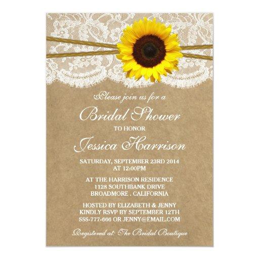 Rustic Sunflower Kraft Lace & Twine Bridal Shower 5x7 Paper Invitation Card