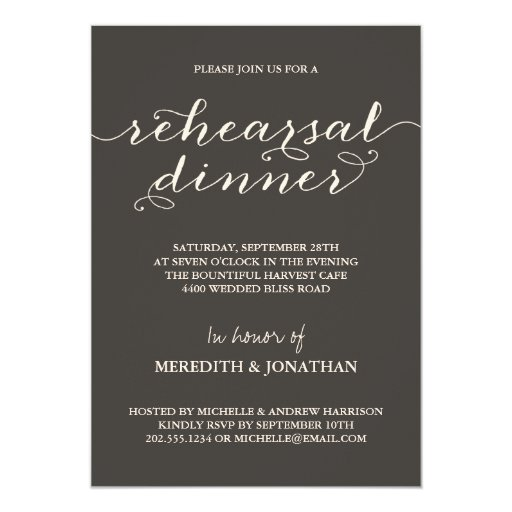 Elegant Rehearsal Dinner 5x7 Paper Invitation Card