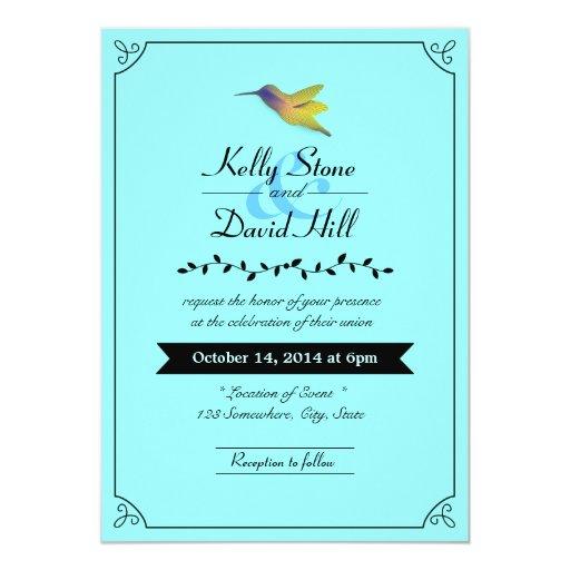"""Mint Blue Hummingbird Wedding Invitations 5"""" X 7"""" Invitation Card"""