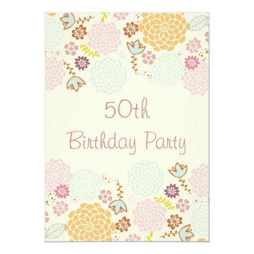 Womens' 50th Birthday Fancy Modern Floral 5x7 Paper Invitation Card