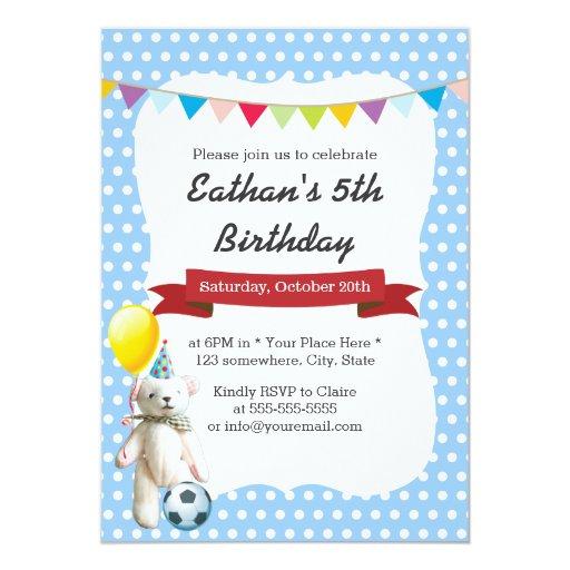 Cute Soccer Bear Blue Polka Dots Birthday Party 5x7 Paper Invitation Card